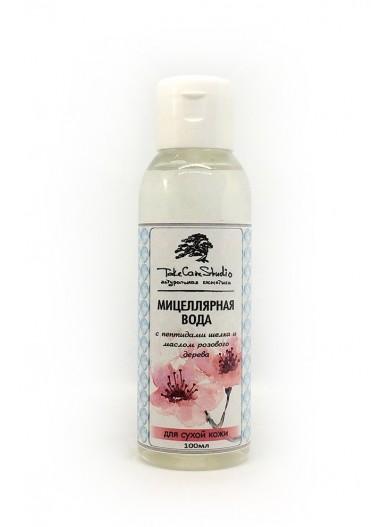 Мицеллярная вода с пептидами шелка и маслом розового дерева